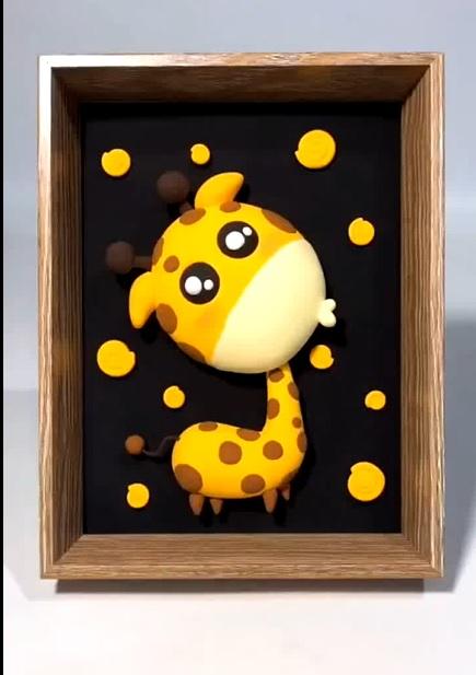 DIY Cute Giraffe Polymer Clay Craft Decorative Paintings