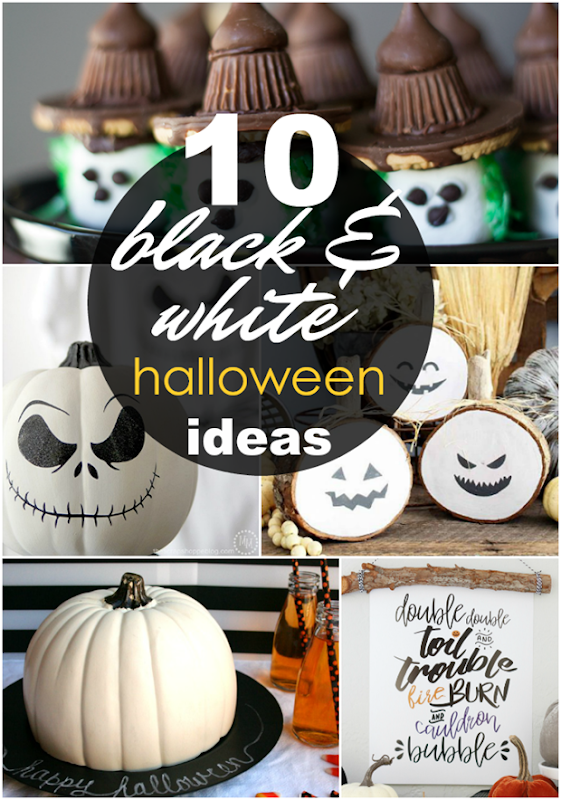 10 Black & White Halloween Ideas at GingerSnapCrafts.com #halloween #blackandwhite