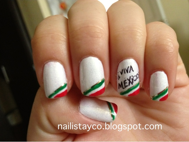 Nailista y co.: ¡¡¡VIVA MEXICO!!!-Day 28 INSPIRED BY A FLAG