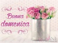 buona domenica buon giorno immagine con scritta shabby chic rose rosa vaso di fiori.jpg