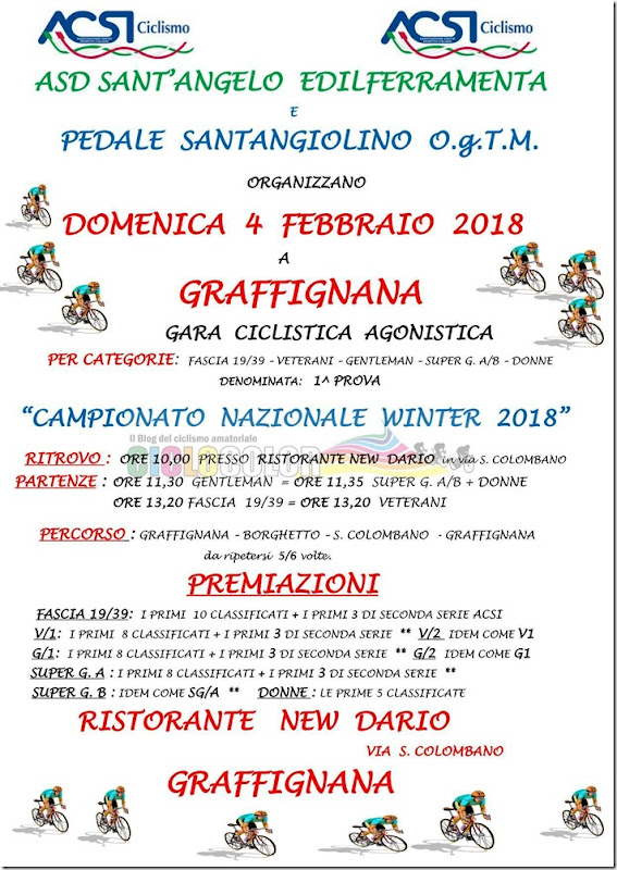 2018-02-04 ACSI - Strada 1ª prova Campionato Nazionale Winter 2018 a Graffignana (LO) - Lombardia