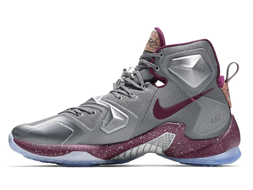 Nike LeBron XIII Opening Night Basketball Shoes Wolf Grey/Team Red/Metallic Silver 823301-060 - Mens