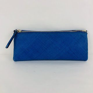 *SALE* Alexandra Clancy Cobalt Leather Woven Clutch