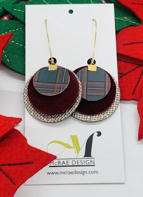 Plaid earrings with gold, burgundy, and a holiday plaid pattern