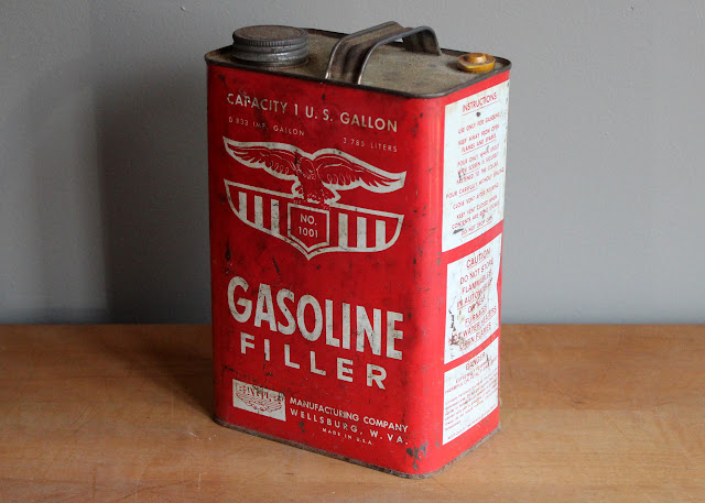 Gasoline tin available for rent from www.momentarilyyours.com, $3.00.