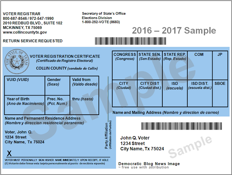 Image result for texas voter registration card harris county 2016