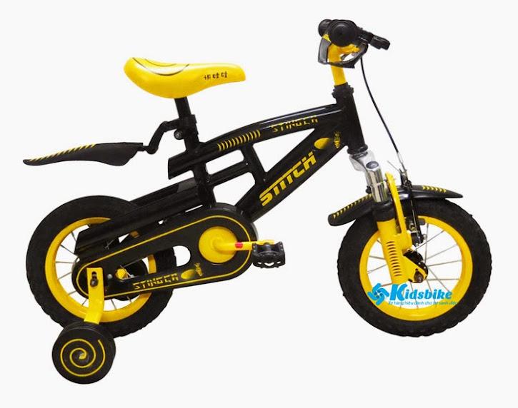 Xe đạp cho bé Stitch Sting màu đen - vàng