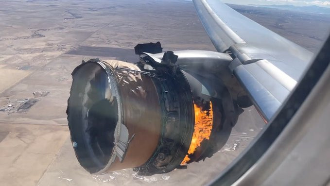 Watch a Video Moment shows United Airlines plane engine on fire mid-flight as debris falls on houses in Colorado