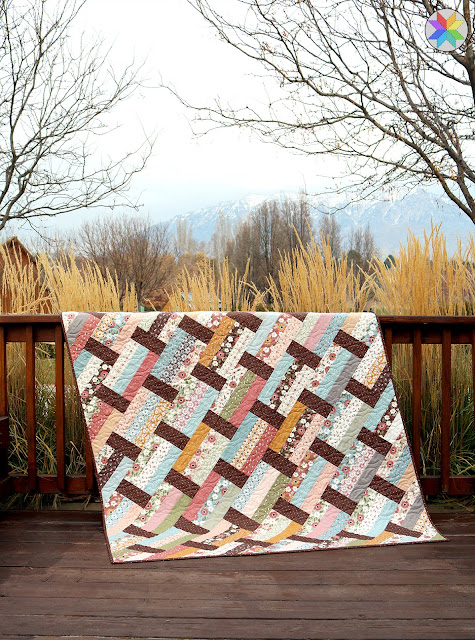 Fast Track quilt pattern from A Bright Corner - a fast and easy pattern that uses layer cakes, jelly rolls, fat quarters or quarter yard cuts and makes four sizes of quilts