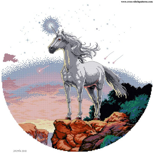 Unicorn Mistique - Counted cross stitch patterns and charts