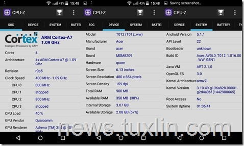Benchmark Acer Liquid Z320 CPU-Z