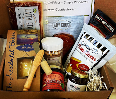 NC-made-gift basket with NC food appetizers