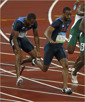 Tyson Gay drops the baton