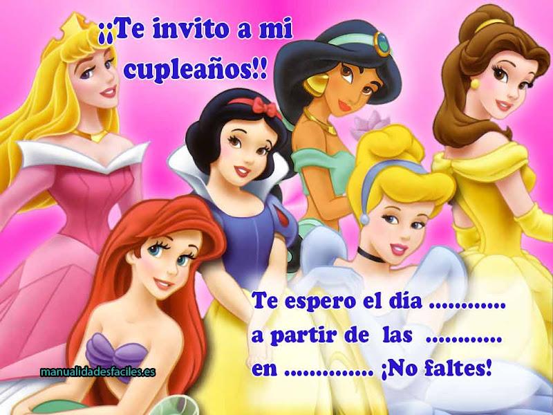 Invitación de cumpleaños de las princesas para imprimir