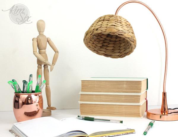 Wicker basket lamp shade