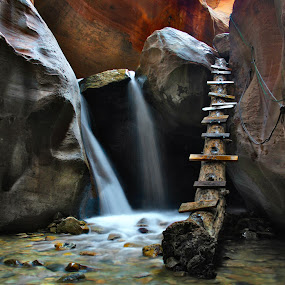 The Ladder and the Fall by Sonny Acosta - Landscapes Waterscapes ( sonny acosta, waterfalls, caves, creeks, landscapes )