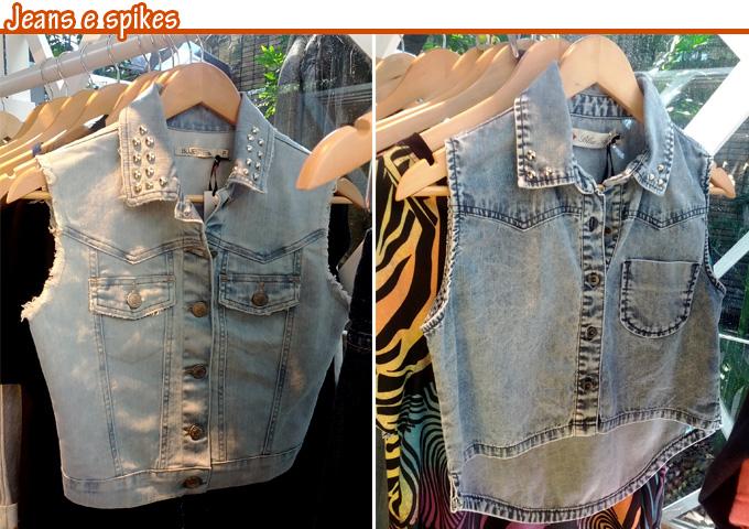 0ae1f0ae35 O spike estava presente em muitas peças como nesse colete jeans e a camisa  jeans mullet. Às vezes em pequena quantidade como um detalhe ou preenchendo  toda ...