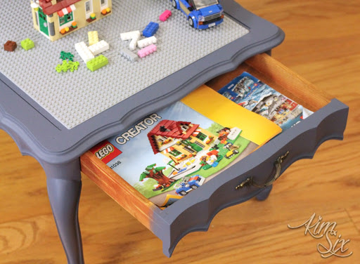 Lego instructions storage drawer & LEGO Table from Two Tier End Table - The Kim Six Fix