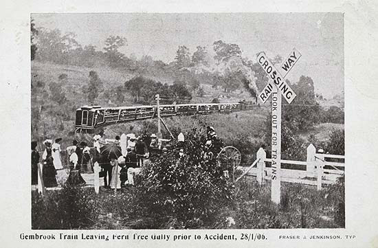 Train Leaving Ferntree Gully prior to the Accident 28th Jan 1906