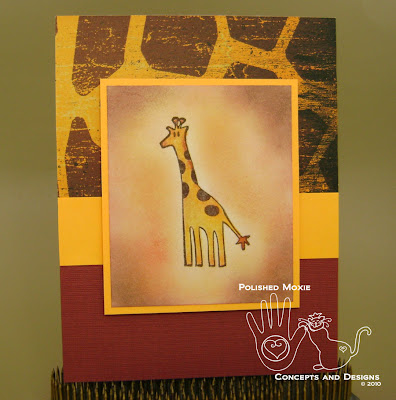 Picture of the front of the giraffe card