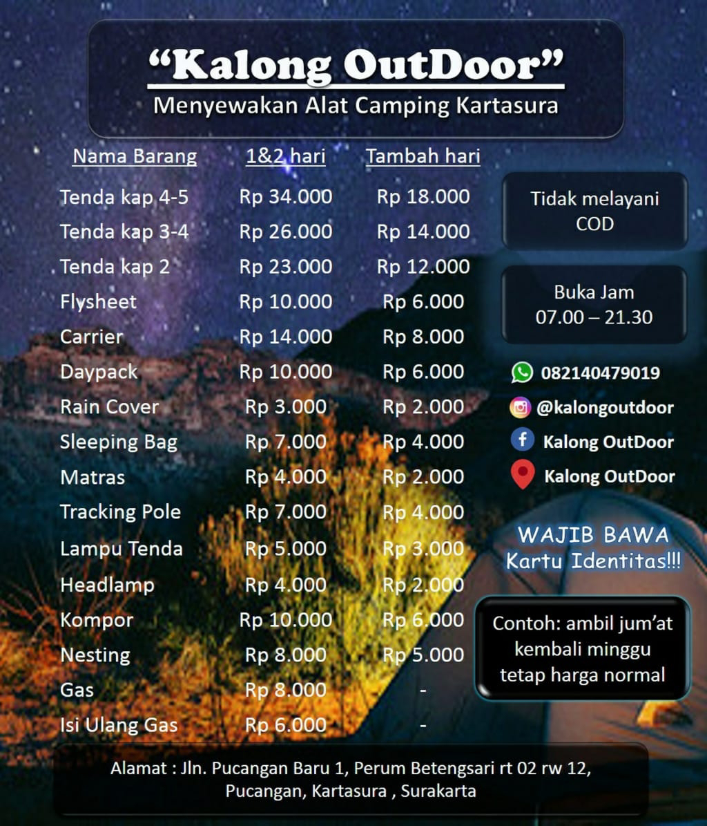 Kalong Outdoor Harga Sewa Alat Outdoor Camping Di Solo