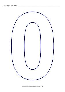Lámina para colorear y pintar el número cero en color azul