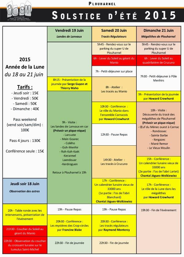 Programme du Solstice d'été 2015