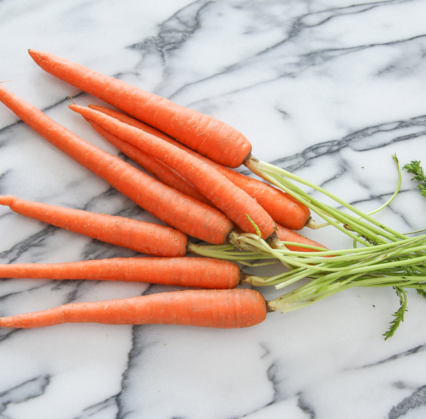 process photo of raw carrots ready to be prepped