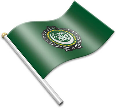 The Arabs flag on a flagpole clipart image