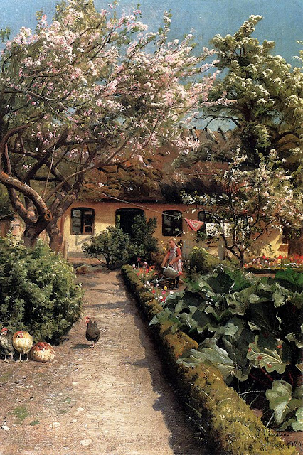 Peder Mork Monsted - Watering The Garden,1920