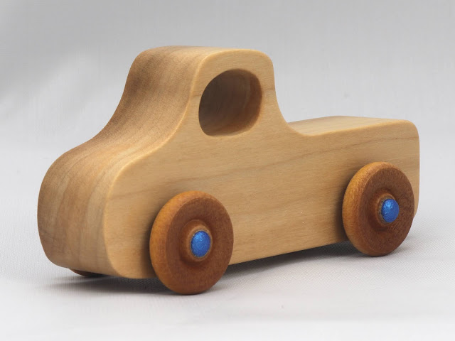 Handmade Wooden Toy Truck, Pickup Truck from the Play Pal Series Clear Shellac With Metallic Blue Hubs