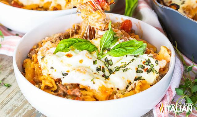 bowl of Cheesy Skillet Lasagna