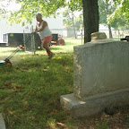 Betty Wilkerson mows July 2010