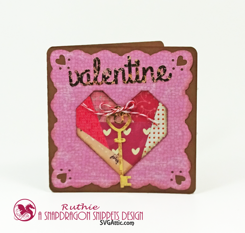 PATCHWORK HEART KEY VALENTINE CARD, SnapDragron Snippets, Ruthie Lopez