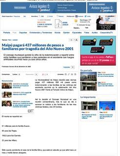 30-12-2005Maipú pagará 437 millones de pesos a familiares por tragedia del Año Nuevo 2001 - Cooperativa