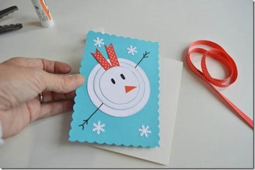 Manualidades Tarjetas Navidad mueco nieve