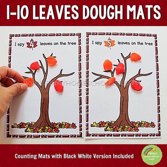 Fall Leaves Counting Dough Mats