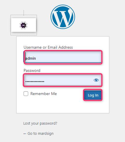 تسجيل الدخول إلى لوحة تحكم الووردبريس