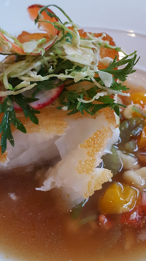 Sea bass, lobster broth, carrots, leeks, radish, chili oil. The Guild House, Columbus, Ohio