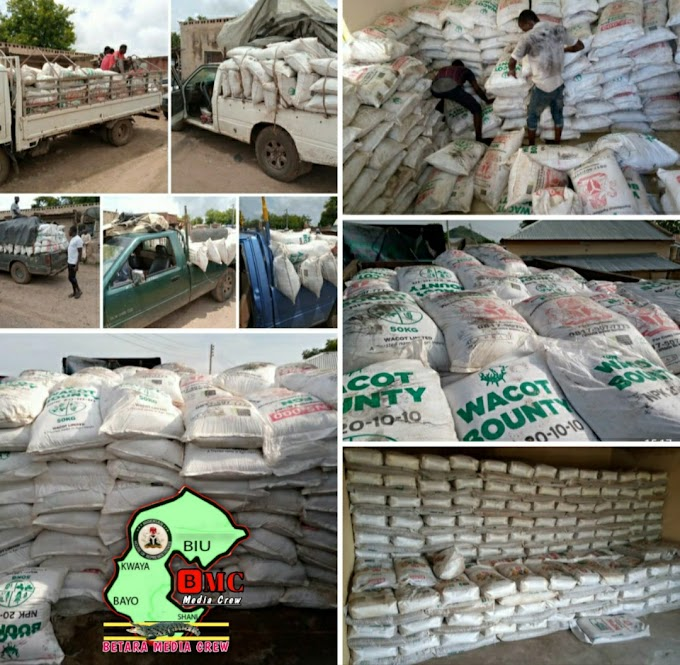 DISTRIBUTION OF 5 TRUCKS OF FERTILIZER TO FARMERS  ACROSS THE CONSTITUENCY BY~RT.HON.MUKTAR BETARA ALIYU Federal law maker & chairman house committee on budget and appropriation, Rt. HON. Muktar Betara Aliyu Member representing Biu, Bayo, Kwaya kusar & Shani federal constituency distributes five (5) trucks of fertilizer to farmers in his constituency to help boost agricultural productivity. This year's raining season looks promising hence farmers require fertilizer to complement their effort at having bumper harvest.Rt. Hon. Betara's intervention in agriculture & all other areas are people oriented. This pledge he made & is kept. People are seeing your effort & appreciate all you do.Betara Media Crew (BMC) 29 July, 2020