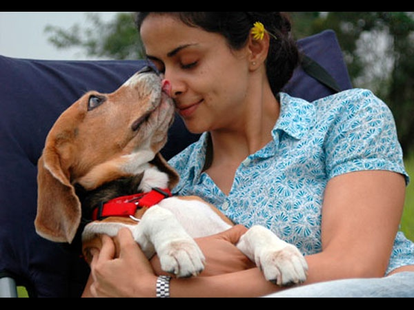 Gul Panag and a dog