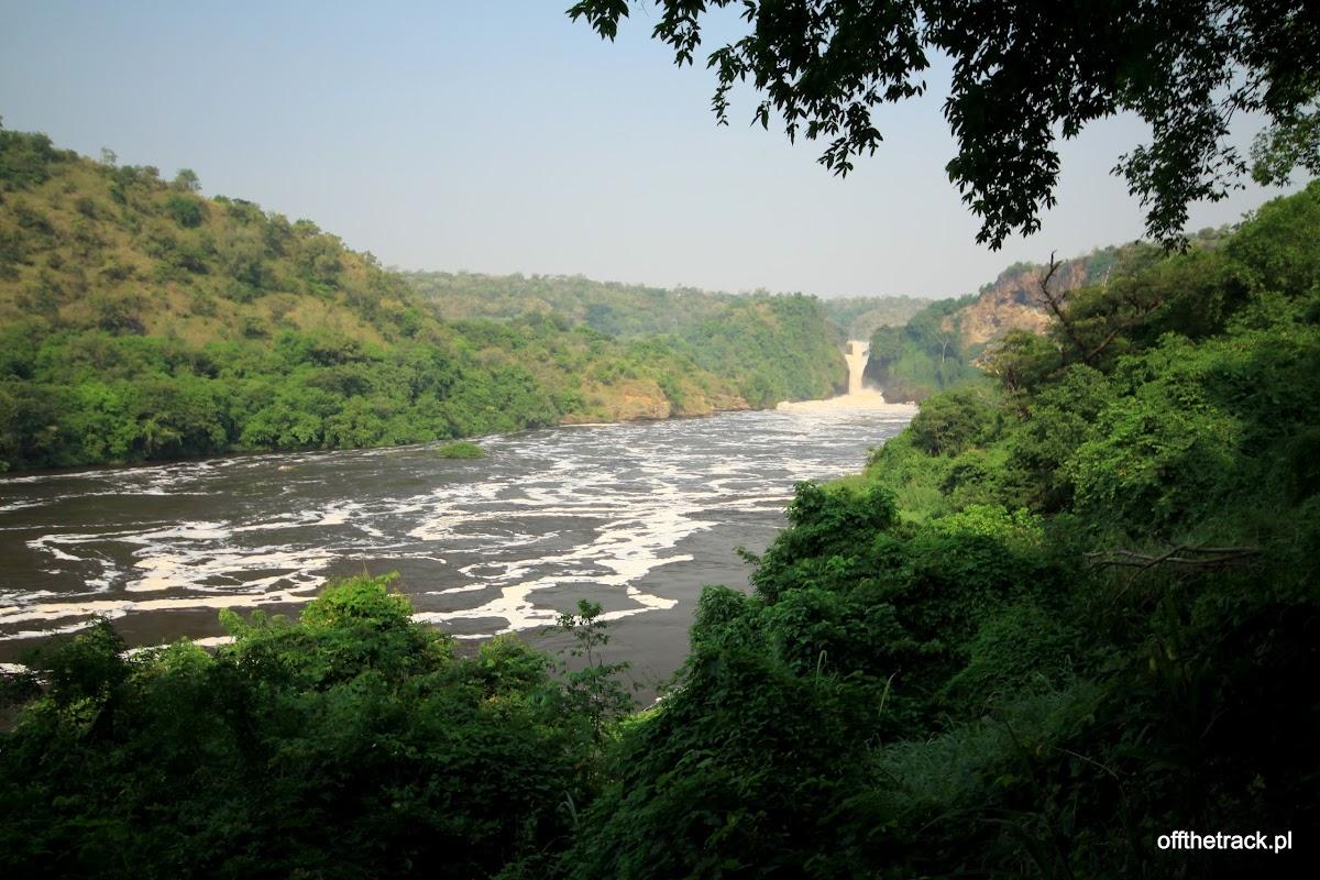 Wodospad Murchisona z daleka, park narodowy Murchison Falls, Uganda
