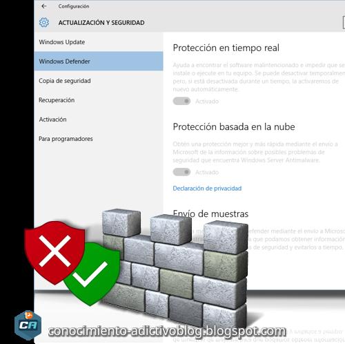 Habilitar / Deshabilitar Windows Defender