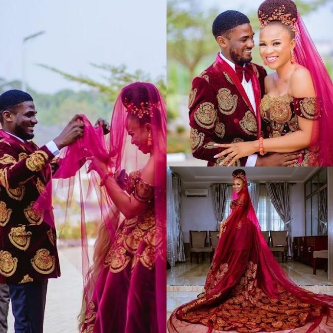 Meet the famous couple making headlines with their beautiful Igbo Isiagu suit and wedding gown