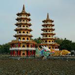 famous Dragon and Tiger pagodas at lotus pond in Kaohsiung, Taiwan in Kaohsiung, Kao-hsiung city, Taiwan