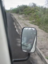 Photo: On the road to the volcano hike (Vanessa rode in the cab)