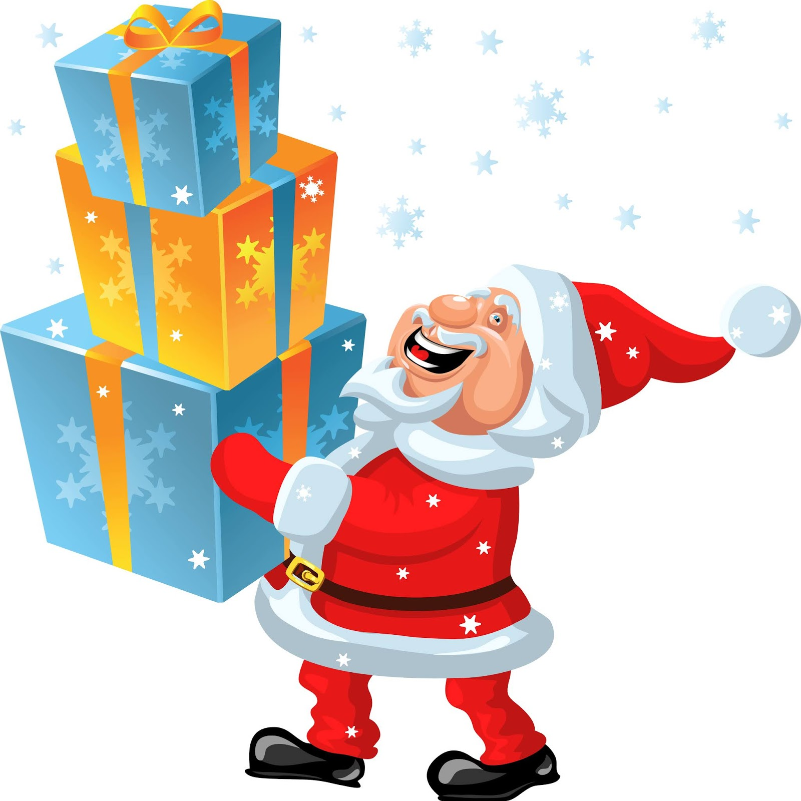 Vector Happy Santa Claus Brings Hands Many Gifts Free Download Vector CDR, AI, EPS and PNG Formats
