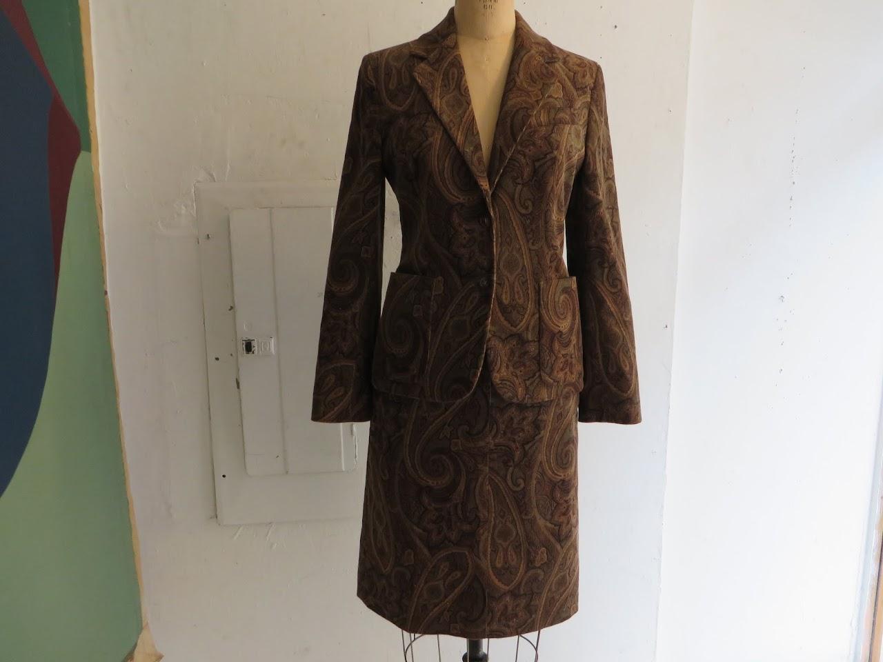 Celine Paisley Corduroy Skirt Suit