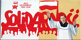 Mural conmemorando los 30 años de Solidarność en Ostrowiec Świętokrzyski (en primer plano, el sacerdote Jerzy Popiełuszko).