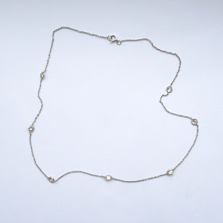 14K White Gold & Crystal Necklace